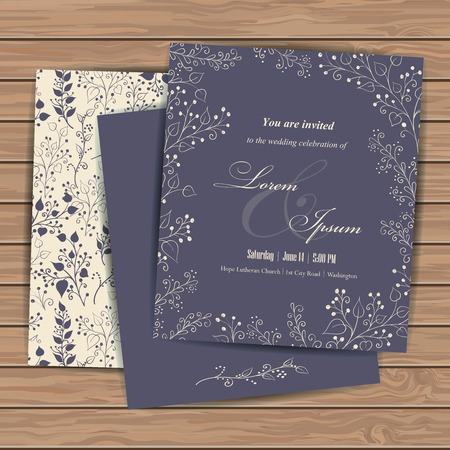 engagement party: Wedding invitation cards with floral elements  on wood plank background. Place for your text. Use for invitations, announcement cards.. Vector illustration.