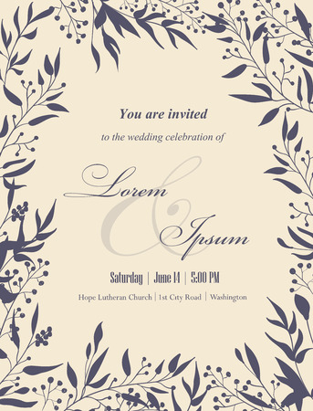 Wedding invitation cards with floral elements. Place for your text. Use for invitations, announcement cards.. Vector illustration. Vettoriali
