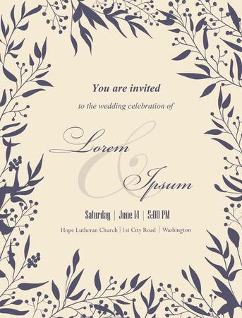Tarjetas de invitación de boda con elementos florales. Lugar para el texto. Uso para las invitaciones, tarjetas de anuncio .. ilustración vectorial. Foto de archivo - 35045252