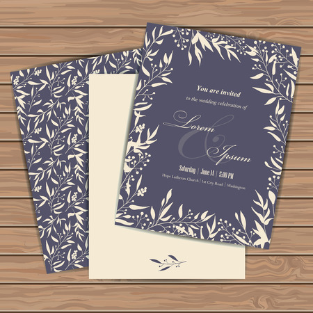 wedding celebration: Wedding invitation cards with floral elements  on wood plank background. Place for your text. Use for invitations, announcement cards.. Vector illustration.