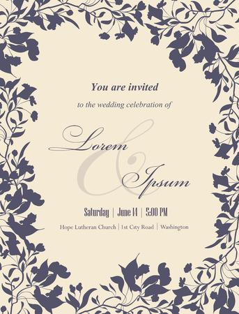 結婚式招待状花の要素を持つ。花のフレームと、テキストの場所です。招待状、お知らせカードに使用します。ベクトルの図。
