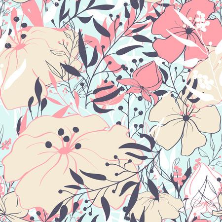 Seamless pattern with floral elements. Vintage background. Vector illustration. Çizim