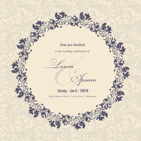 Wedding invitation cards with floral elements. Floral frame and place for your text. Use for invitations, announcement cards. Vector illustration.