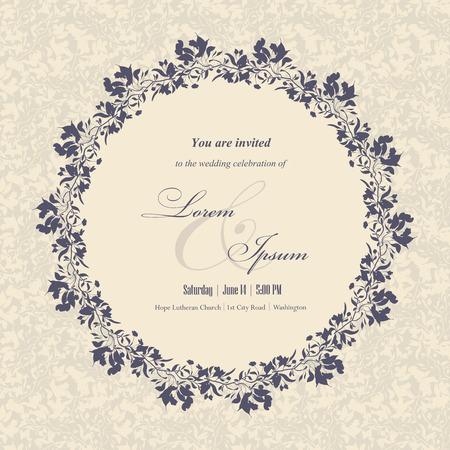 c�r�monie mariage: cartes d'invitation de mariage avec des �l�ments floraux. Floral frame et le lieu de votre texte. Utilisez pour des invitations, cartes d'annonce. Vector illustration. Illustration