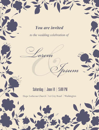 wedding: Wedding invitation cards with floral elements. Floral frame and place for your text. Use for invitations, announcement cards. Vector illustration.
