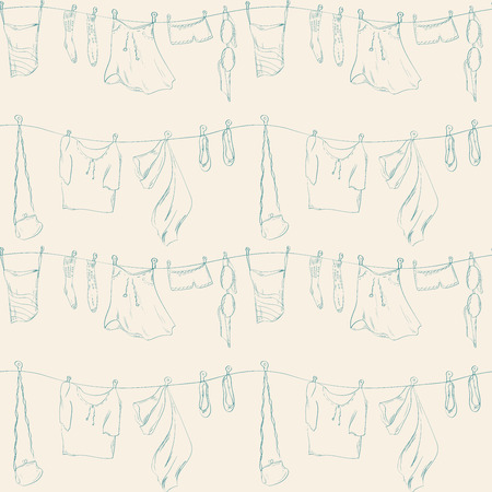 Seamless pattern with hand drawn shoes  and clothes. Laundry drying on a washing lines. Vector illustration.