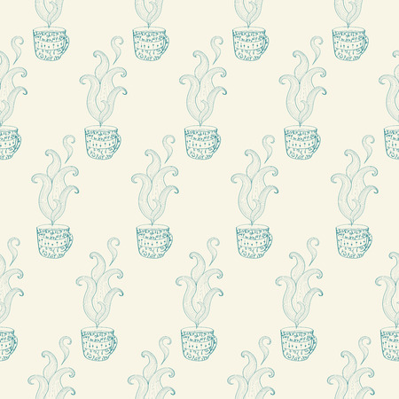 Seamless pattern with hand drawn tea cup with floral pattern. Vector illustration Illustration