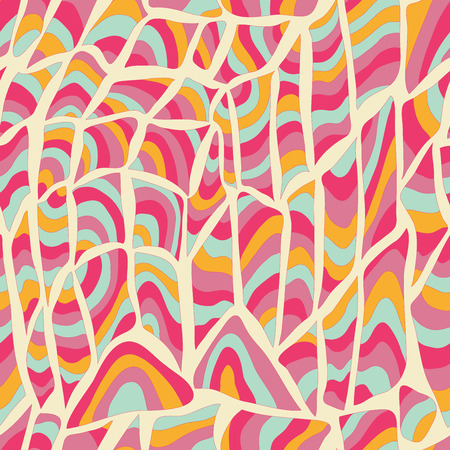 fabric art: Vector seamless abstract hand-drawn pattern. Colorful waves and squares.