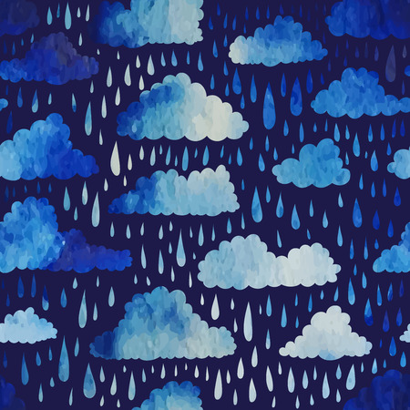 clouds: Seamless pattern with clouds and rain. Watercolor effect. Vector illustration. Illustration