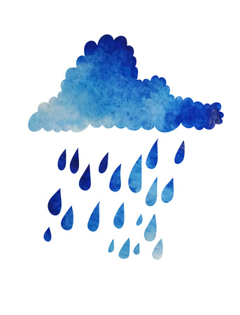 Cloud with raindrops isolated on white. Watercolor effect. Vector illustration. Ilustração
