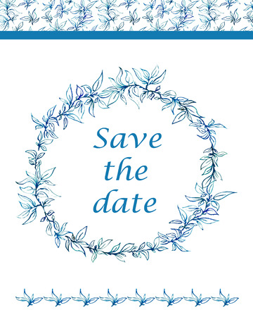 lace vector: Save the date card with blue watercolor leaves. Circle ornament, ornamental round lace. Vector illustration.