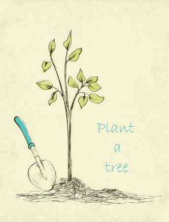 baum pflanzen: Fr�hling Gartenzeitkarte. Hand gezeichnete Baumpflanzung. Vektor-Illustration Illustration