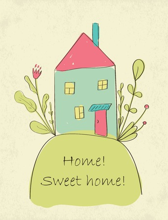 Hand drawn cute Home sweet home card. Picture of little house on the hil. Vector illustration Vector