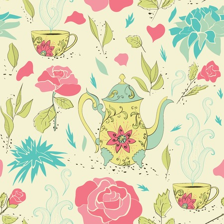 Seamless pattern with hand drawn tea mug and teapot with floral pattern surrounded by flowers and tea leaves. Vector illustration Illustration