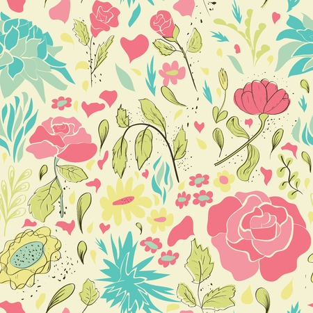 Hand drawn seamless floral pattern. Vector illustration
