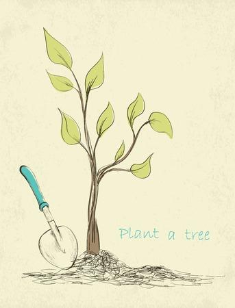 plantando arbol: Primavera tarjeta de tiempo jardiner�a. Dibujado a mano la plantaci�n de �rboles. Ilustraci�n vectorial