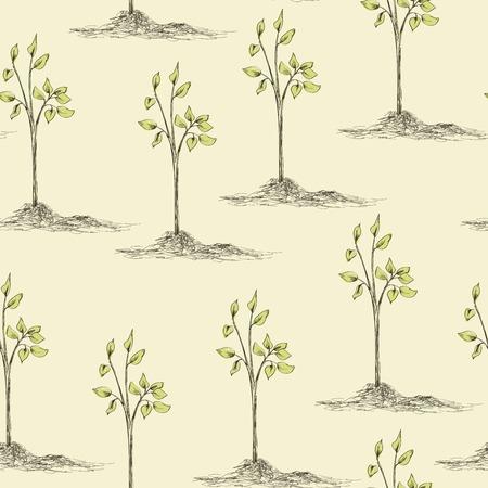 baum pflanzen: Fr�hling Gartenarbeit Zeit nahtlose Muster. Hand gezeichnete Baumpflanzung. Vektor-Illustration