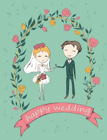 vintage bride: Bride and groom under an flower arch. Wedding hand drawn card