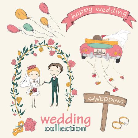 recien casados: Colección doodle boda mano para organizador ceremonia de la boda