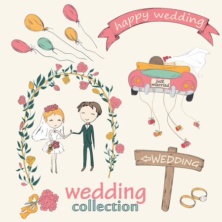 wedding celebration: Wedding hand drawn doodle collection for wedding ceremony organizer Illustration
