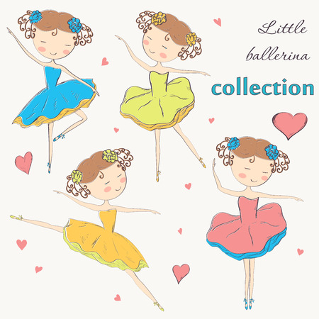 Set of hand drawn ballerinas doodle design Illustration