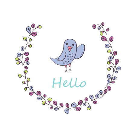 Greeting card with bird and flowers Vector