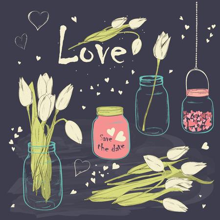 Bruiloft romantische collectie met spring tulpen in Mason Jar. Hand tekening vintage set op bord achtergrond. Vector illustratie.