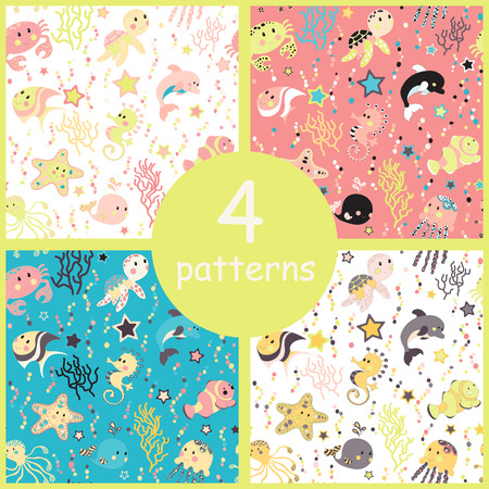Set of sea creatures seamless pattern. Childish background. Holiday design. Vector illustration. Illustration