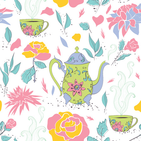 Seamless pattern with hand drawn tea mug and teapot with floral pattern surrounded by flowers and tea leaves. Vector illustration Vector