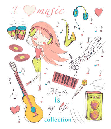 merry dancers: Hand drawn girl and music accessories doodle design elements set. Vector illustration.