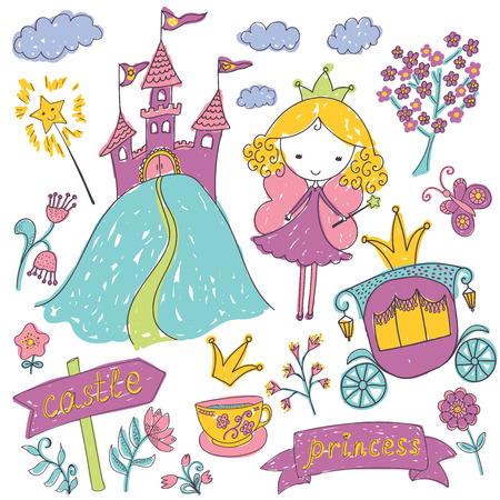 castillos de princesas: Hadas incompletos elementos de dise�o del doodle de la princesa del cuento dibujados a mano set. Ilustraci�n del vector.