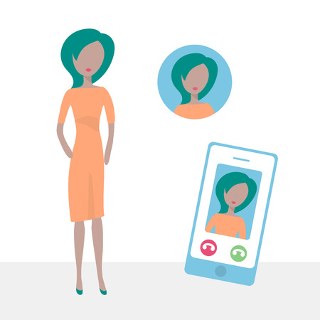 Female character icon in flat design style. Internet communication via smart phone. Vector illustration.