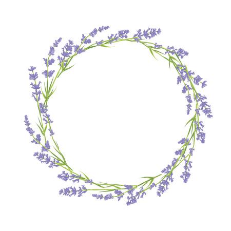 violeta: Círculo de flores de lavanda dibujados a mano. Diseño dibujado mano de Gracias tarjeta, tarjeta de felicitación o invitación. Ilustración del vector.