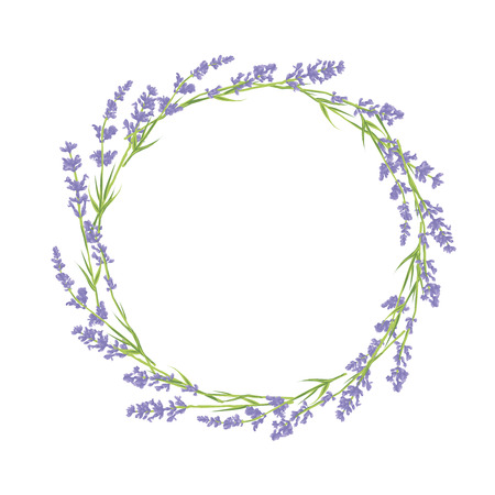violet purple: Circle of hand drawn lavender flowers . Hand drawn design for Thank you card, Greeting card or Invitation. Vector illustration.