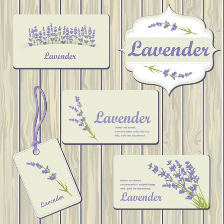 Lavender cards and labels on wood plank background. Template for design textile, greeting cards, wrapping paper, packages, backgrounds. Vintage vector illustration.