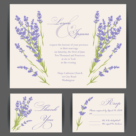 svatba: Svatební pozvánky s fialovým květem levandule. Vintage pozadí. Vektorové ilustrace. Ilustrace