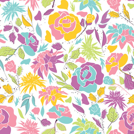 Seamless pattern with hand drawn doodle flowers . Hand drawn design for Thank you card, Greeting card or Invitation. Vector illustration.