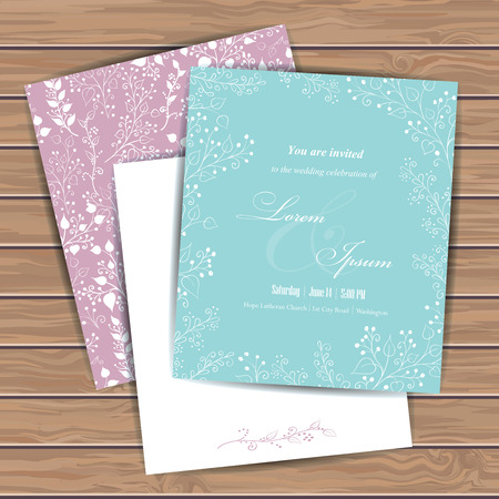 happy wedding: Greeting cards with floral elements on wood plank background. Place for your text. Use for invitations, announcement cards. Seamless pattern masked. Vector illustration.