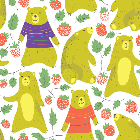 seamless: Cute bear and raspberry seamless pattern in cartoon style. Bear in sweater.Vector illustration.