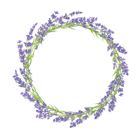 laurels: Circle of hand drawn lavender flowers . Hand drawn design for Thank you card, Greeting card or Invitation. Vector illustration.