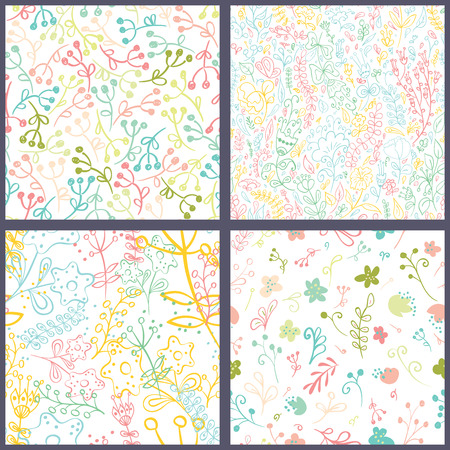 Set of seamless patterns with hand drawn flowers. Vintage background. Vector illustration.