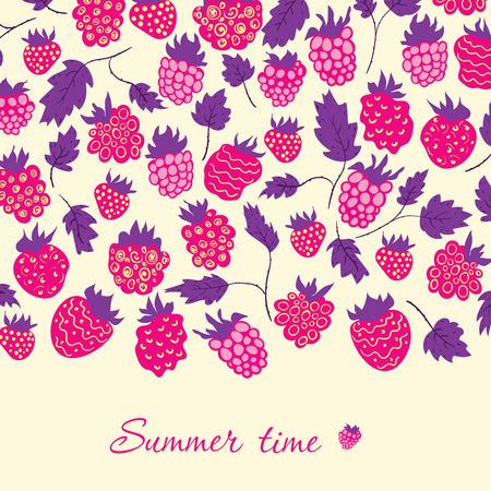 raspberries: Card with raspberries in cartoon style.