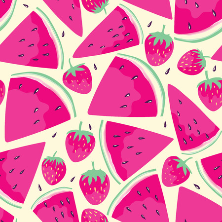 Seamless pattern with watermelon slices and  strawberries  in cartoon style. Hand drawn design for fabric, wrapping paper, greeting cards or invitation. Vector illustration.