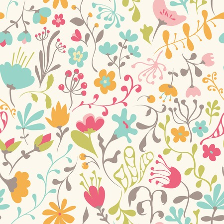 Seamless pattern with hand drawn doodle flowers. Hand drawn design for fabric, wrapping paper, greeting cards or invitation. Vector illustration. Vettoriali