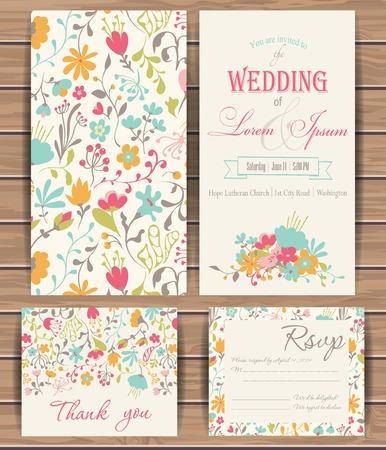 tarjeta de invitacion: Plantillas de tarjetas de vectores florales. Diseño dibujado mano para Ahorre la fecha, tarjetas de felicitación, tarjetas de cumpleaños, invitaciones. Patrón transparente se enmascara. Tablón de madera de vectores de fondo está en la capa separada.