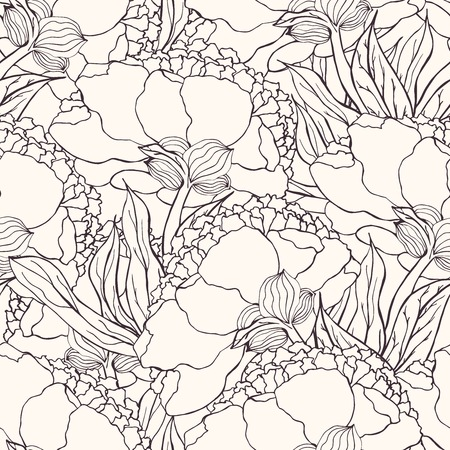 watercolour: Seamless pattern with hand drawn doodle flowers. Hand drawn design for fabric, wrapping paper, greeting cards or invitation. Vector illustration. Illustration