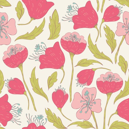 greeting: Seamless pattern with hand drawn doodle flowers. Hand drawn design for fabric, wrapping paper, greeting cards or invitation. Vector illustration. Illustration