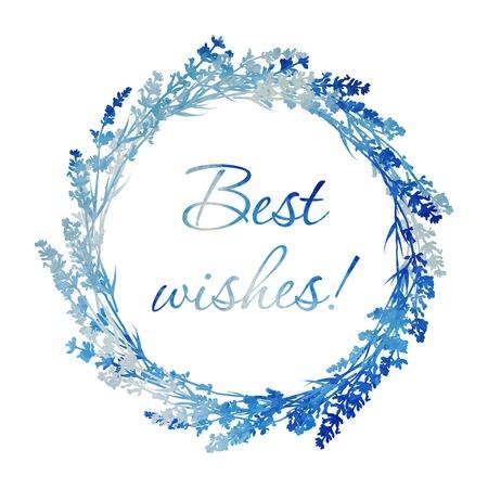 fiori di lavanda: Acquerello vettore lavanda ghirlanda di fiori. Disegno a mano di design per Biglietto di ringraziamento, Promemoria, RSVP, cartolina d'auguri o invito. Illustrazione vettoriale. Vettoriali