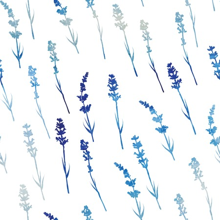 Seamless pattern with watercolor lavender flowers . Hand drawn design for Thank you card, Greeting card or Invitation. Vector illustration.