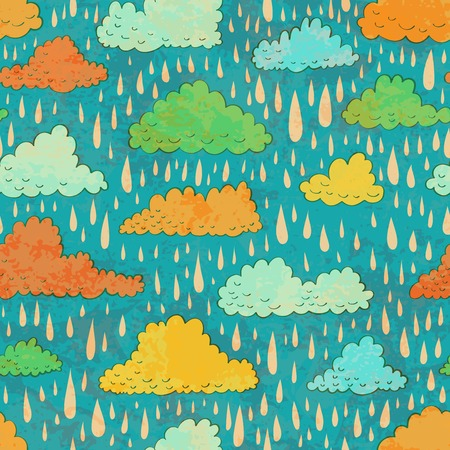 rainy season: Seamless pattern with color clouds and rain. Vector illustration.